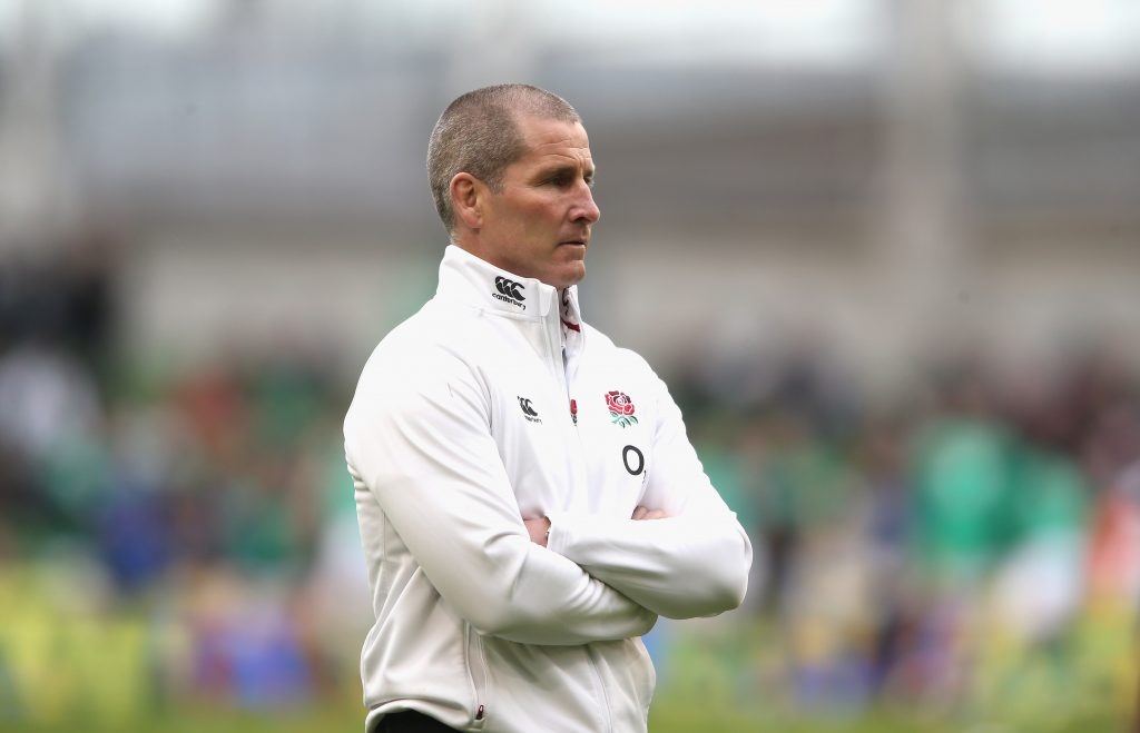 Stuart Lancaster, the England head coach looks on